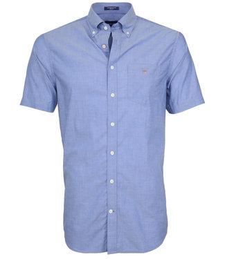Gant heren overhemd blauw korte mouw