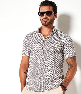Desoto overhemd korte mouw wit met gekleurde cirkel print