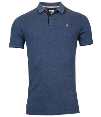 Giordano Tailored polo jeans blauw met donkerblauwe details