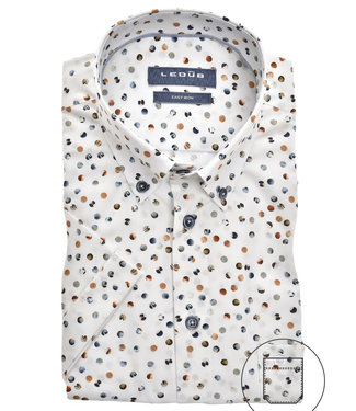 Ledub korte mouw overhemd wit beige groen grafische print