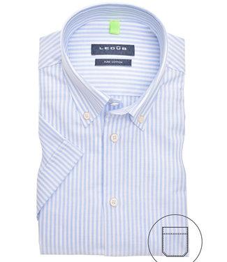 Ledub korte mouw overhemd lichtblauw-wit streepje