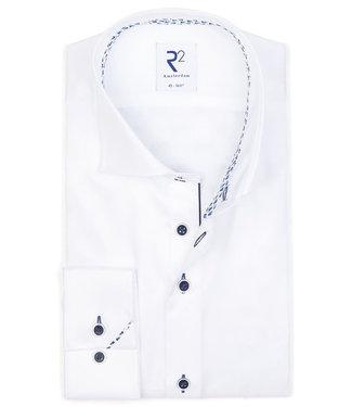 R2 Amsterdam overhemd wit donkerblauwe knopen