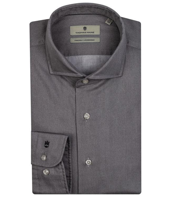 Thomas Maine overhemd grijs print 1knoops wide spread