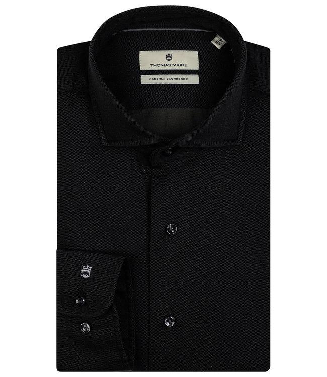 Thomas Maine overhemd zwart print 1knoops wide spread