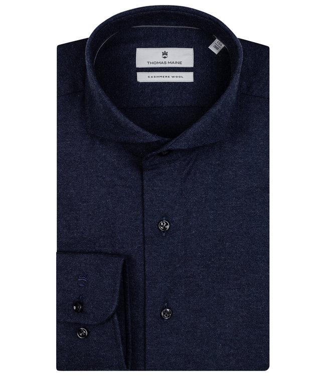 Thomas Maine overhemd donkerblauw katoen cashmere
