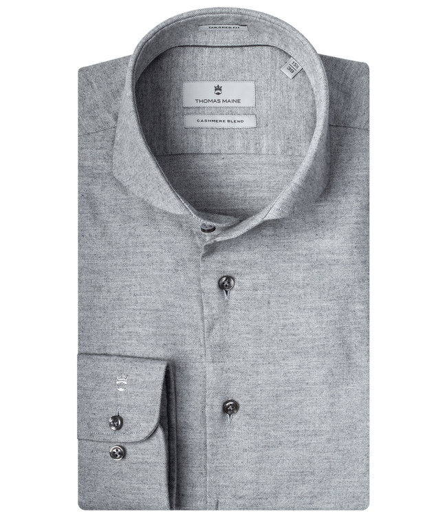 Thomas Maine overhemd lichtgrijs katoen cashmere
