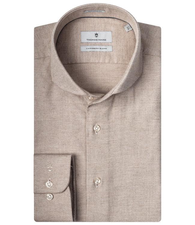 Thomas Maine overhemd beige zand katoen cashmere