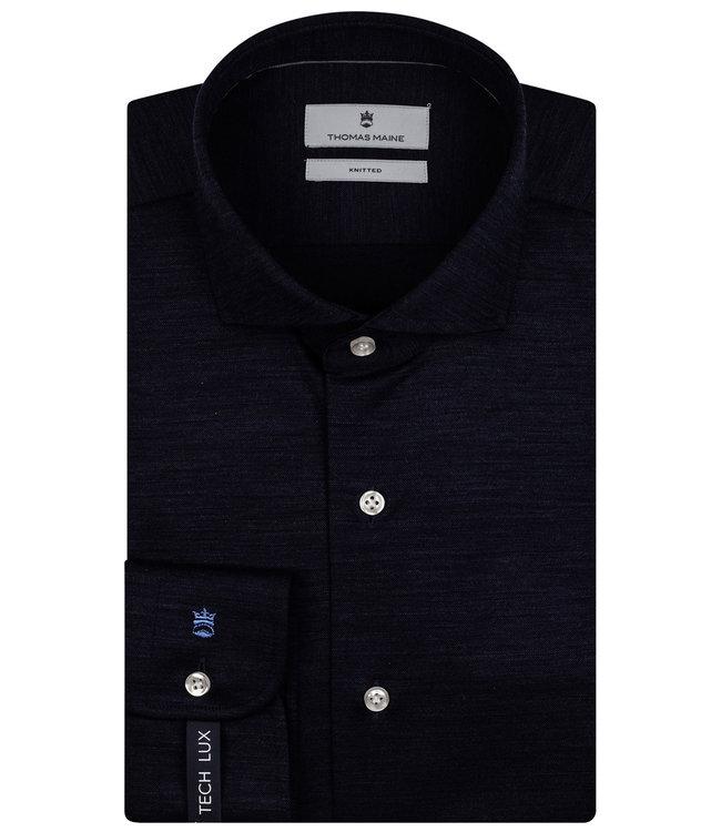 Thomas Maine overhemd donkerblauw merino jersey melange