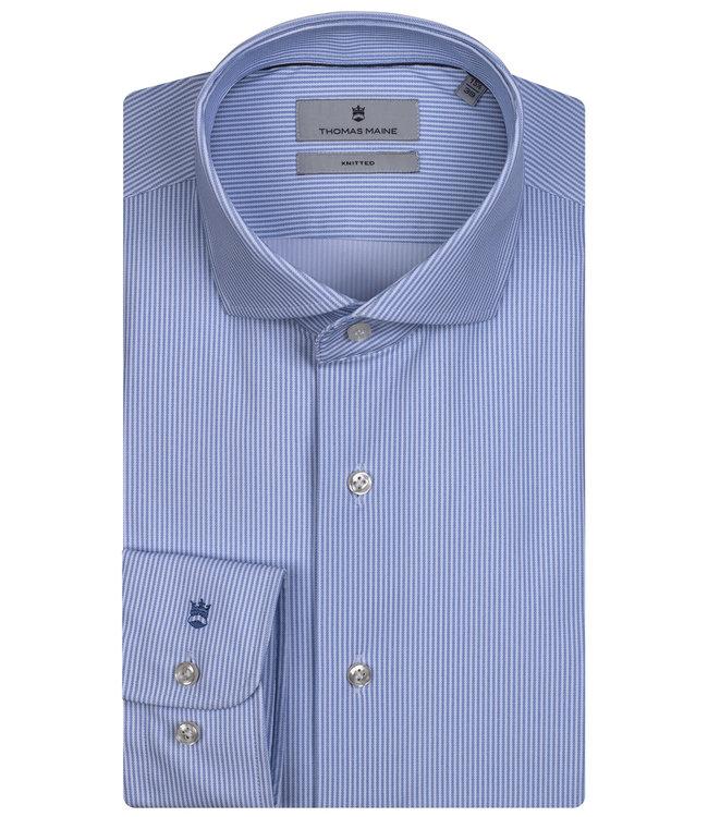Thomas Maine overhemd lichtblauw-wit fijn streepje
