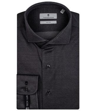 Thomas Maine overhemd antraciet grijs jersey
