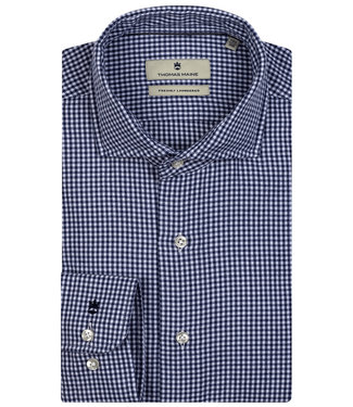 Thomas Maine overhemd donkerblauw-wit ruitje 1knoops wide spread