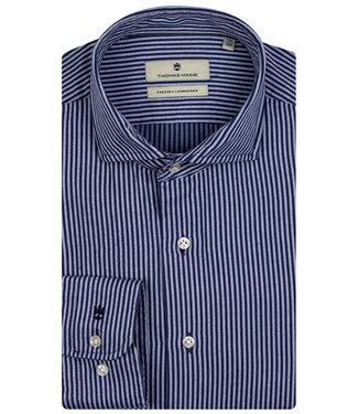 Thomas Maine overhemd donkerblauw-blauw streepje 1knoops wide spread