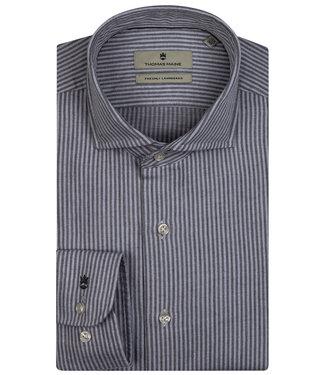 Thomas Maine overhemd grijs-lichtgrijs streepje 1knoops wide spread