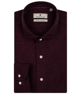 Thomas Maine overhemd bordeaux rood burgundy winter visgraat