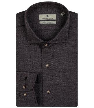 Thomas Maine overhemd grijs bruin winter visgraat