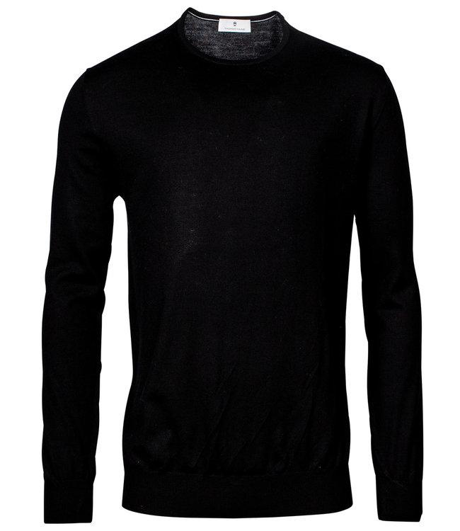 Thomas Maine heren ronde hals trui zwart merino wol