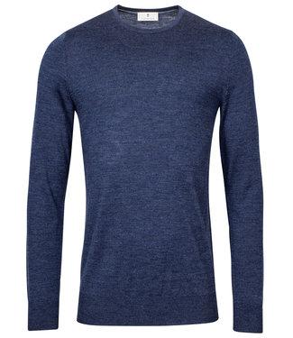 Thomas Maine heren ronde hals trui jeans blauw merino wol