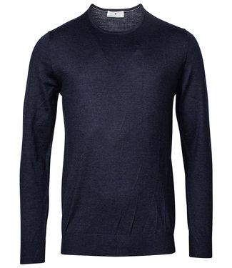 Thomas Maine heren ronde hals trui donkerblauw merino wol