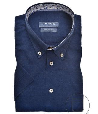 Ledub korte mouw overhemd donkerblauw
