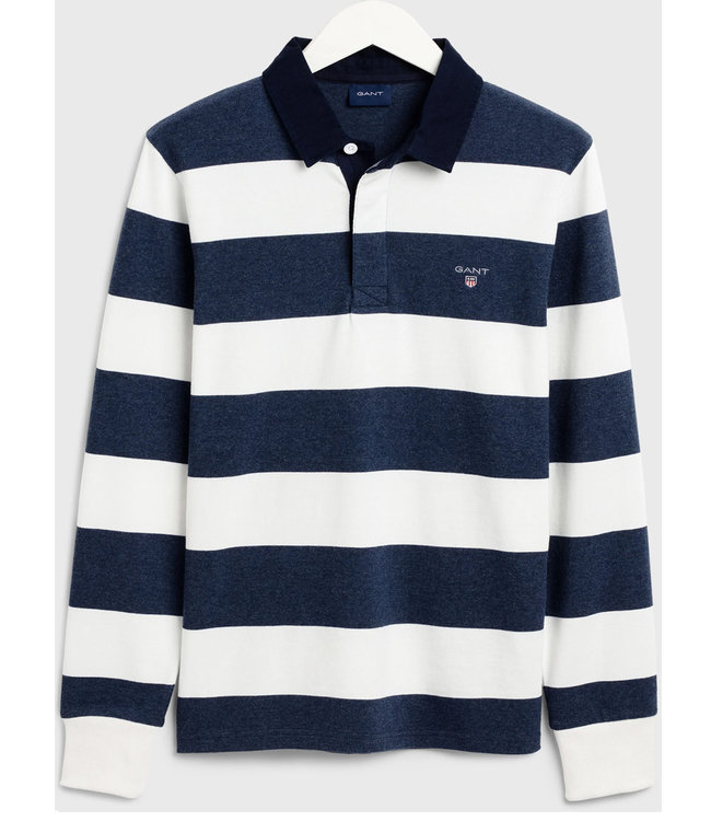 Gant wit-donkerblauw heren rugby shirt sweater