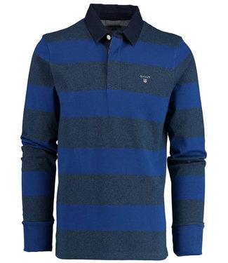 Gant jeansblauw-kobaltblauw heren rugby shirt sweater