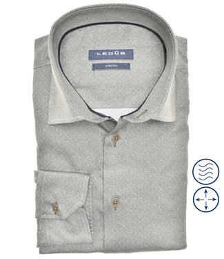 Ledub overhemd modern fit donkergroen print structuur