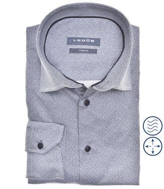 Ledub overhemd modern fit donkerblauw print structuur