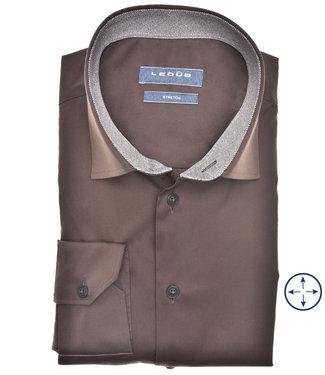 Ledub overhemd modern fit donkerbruin katoen stretch