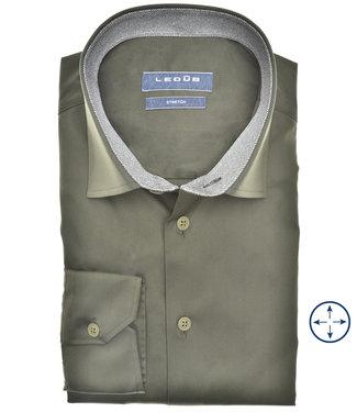 Ledub overhemd modern fit donkergroen katoen stretch