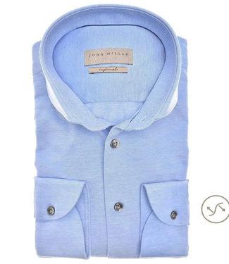 John Miller overhemd slim fit lichtblauw jersey tricot