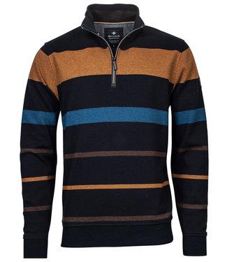 Baileys heren sweater donkerblauw camel bruin blauw strepen