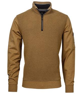 Baileys heren sweater camel beige met ritsje