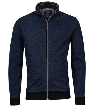Baileys heren vest jeans blauw structuur ritsen