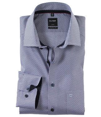 Olymp overhemd donkerblauw wit brique lichtblauw print