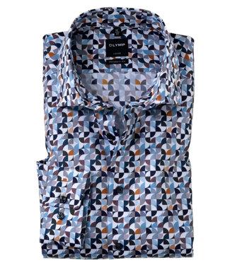 Olymp overhemd donkerblauw wit lichtblauw bruin grafische print