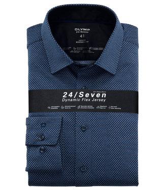 Olymp overhemd donkerblauw kobaltblauw lichtblauw print