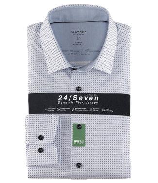 Olymp overhemd lichtblauw donkerblauw print
