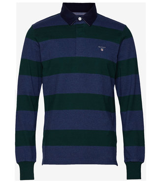 Gant jeansblauw-donkergroen heren rugby shirt sweater