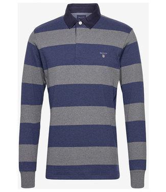 Gant jeansblauw-grijs heren rugby shirt sweater