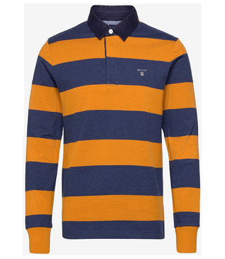 Gant jeansblauw-okergeel heren rugby shirt sweater