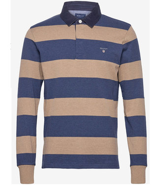 Gant jeansblauw-beige bruin heren rugby shirt sweater