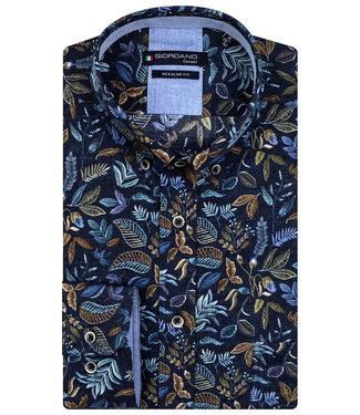 Giordano Regular Fit donkerblauw groen bruin blauw takjes print