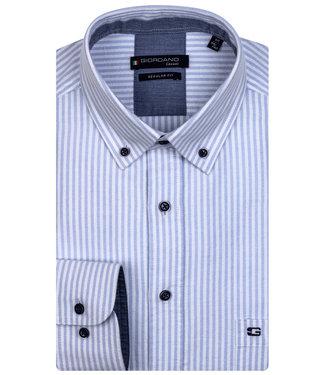 Giordano Regular Fit lichtblauw-wit oxford streepje button down