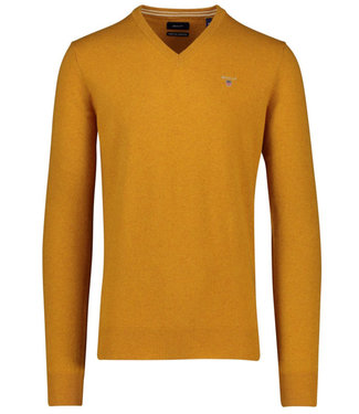 Gant heren mosterd geel v-hals trui