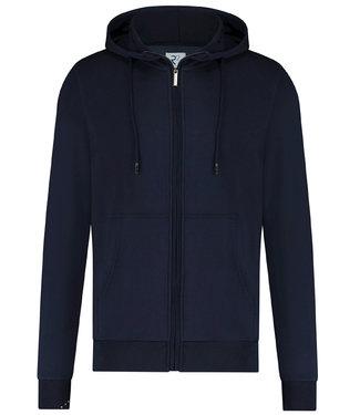 R2 Amsterdam heren donkerblauw hoodie vest rits
