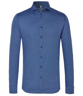 Desoto overhemd donker aqua blauw  uni cut away
