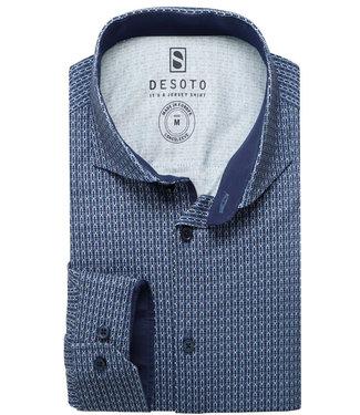 Desoto overhemd donkerblauw grijs wit grafische print