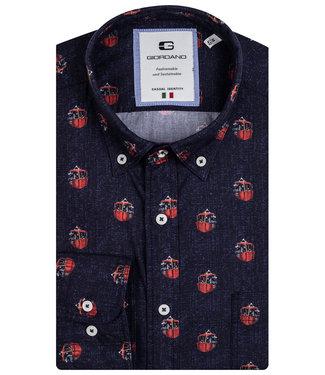 Giordano Tailored heren overhemd donkerblauw rode gondel print