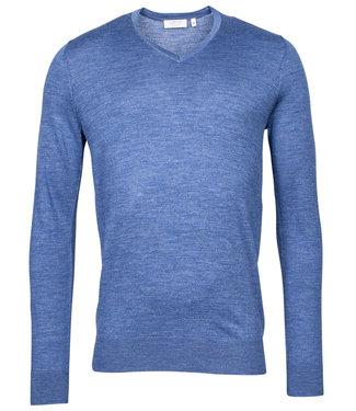 Giordano Blue heren v-hals trui blauw merino wol