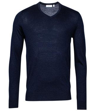 Giordano Blue heren v-hals trui donkerblauw merino wol